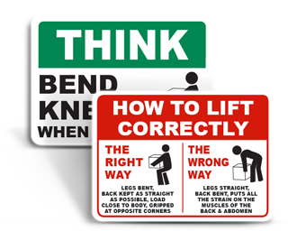 Safe Lifting Signs