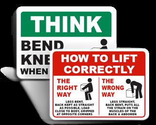 Safe Lifting Signs