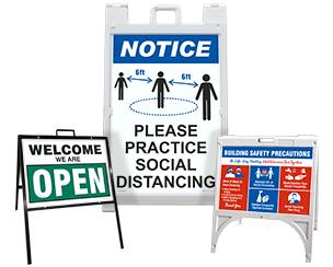Social Distancing Sidewalk Signs