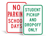 School Zone Parking Signs
