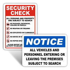 Security Checkpoint Signs