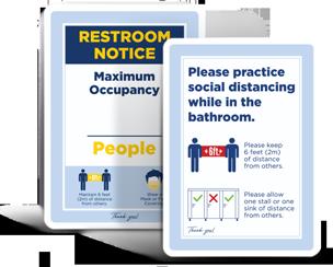 Social Distancing Bathroom Signs