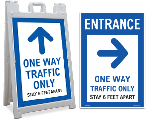 Social Distancing Directional Signs