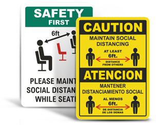 Social Distancing Safety Signs