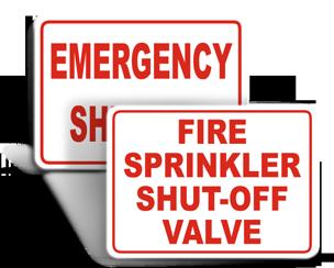 Sprinkler Shut Off Signs