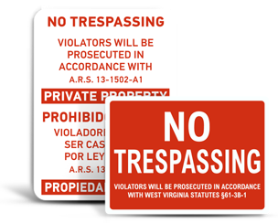 State No Trespassing Signs