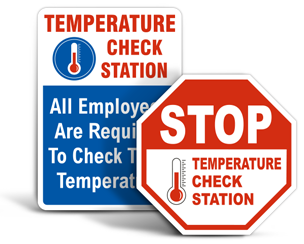 Temperature Check Station Signs