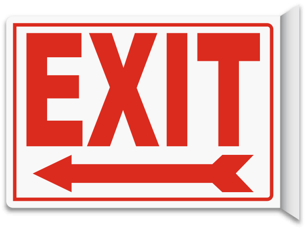 picture about Printable Arrow Signs named Exit (Remaining Arrow) 2-Path Signal