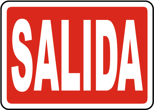 Spanish Salida Exit Sign By Safetysign Com A5130