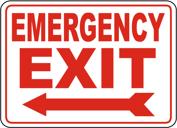 Left Arrow Emergency Exit Sign By Safetysign Com A5169