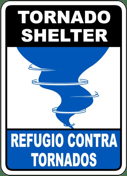 bilingual tornado shelter sign a5190 -safetysign