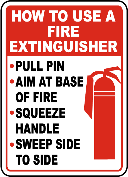 How To Use Fire Extinguisher Label B1873 - by SafetySign.com