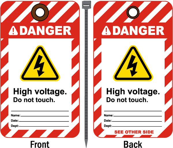 Danger High Voltage Tag B5760 By Safetysign