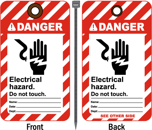 Danger Electrical Hazard Tag B5768 - by SafetySign.com