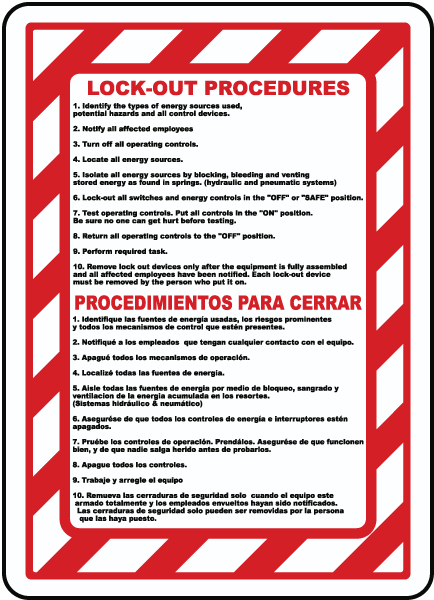 Bilingual Lock Out Procedures Sign Safety Signs