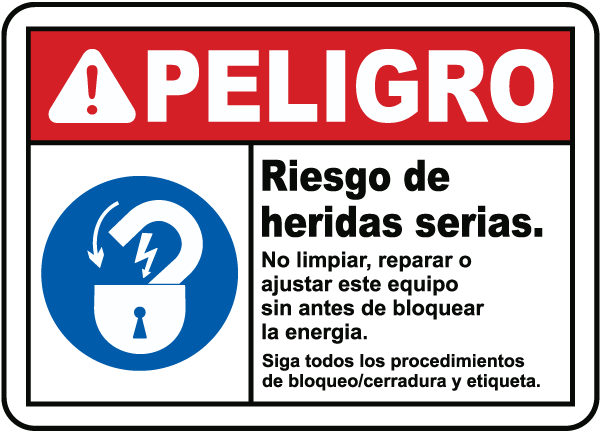 Spanish Danger Risk of Serious Injury Sign