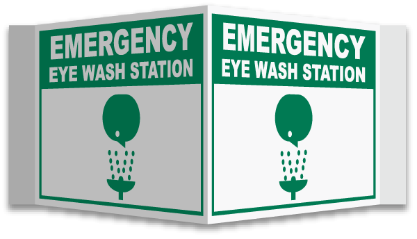 08cdab287ce Item     D4567  3-Way Sign Reads  Emergency Eye Wash Station  3-Way Sign  Design  Emergency Eye Wash Symbol