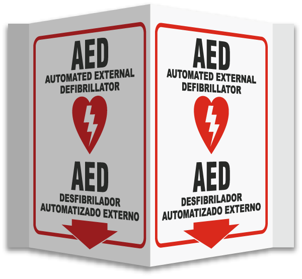 3 Way Bilingual Aed Sign D4660 By Safetysign