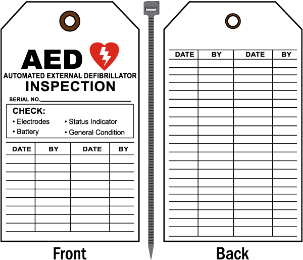 AED Inspection Record Tag D4672 - by SafetySign.com
