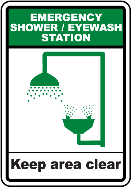 Shower Eye Wash Keep Clear Sign By Safetysign Com D4676