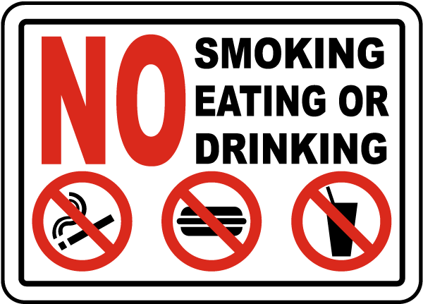 No Smoking Eating Or Drinking Sign D5735