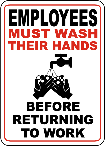 Bathroom Signs Wash Hands employees must wash hands sign d5737