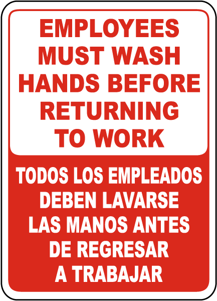 Bilingual Employees Must Wash Hands Label