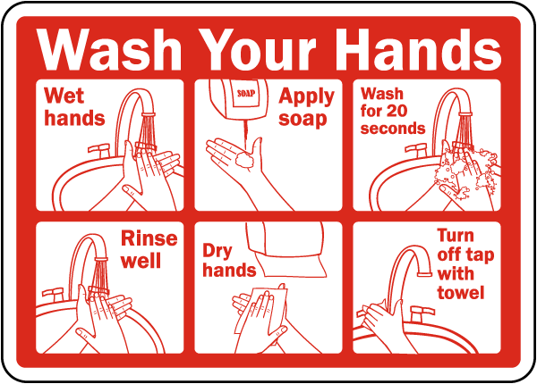 Wash Your Hands Instructions Label D5815l