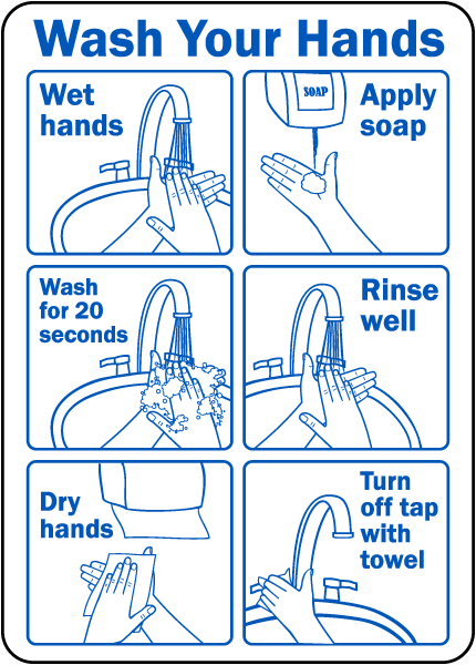 Wash Your Hands Instruction Label By Safetysign Com D5817