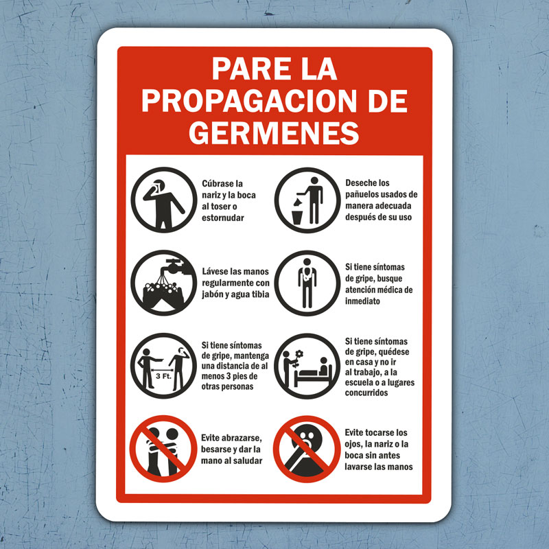 Spanish Stop The Spread of Germs Sign