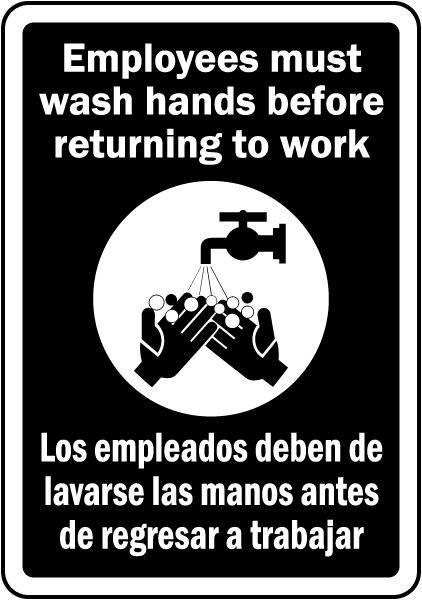 Bilingual Employees Wash Hands Sign