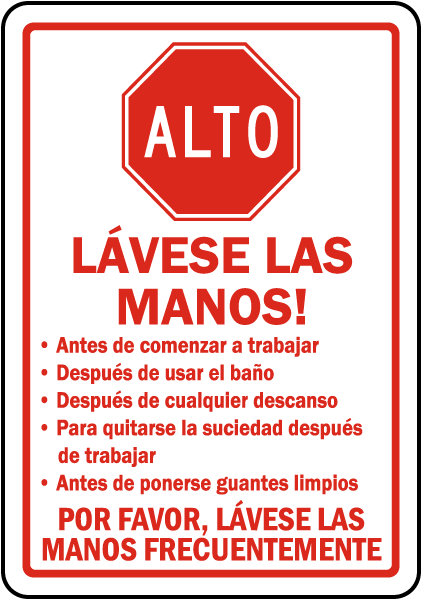 Bathroom Signs Spanish spanish stop wash your hands sign d5829 -safetysign