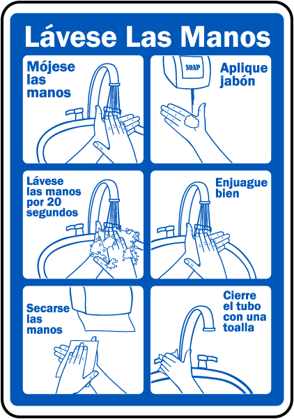 Spanish Wash Your Hands Sign
