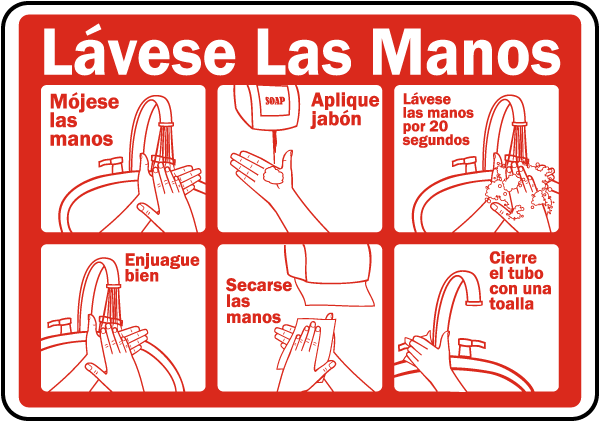 Spanish Wash Your Hands Label