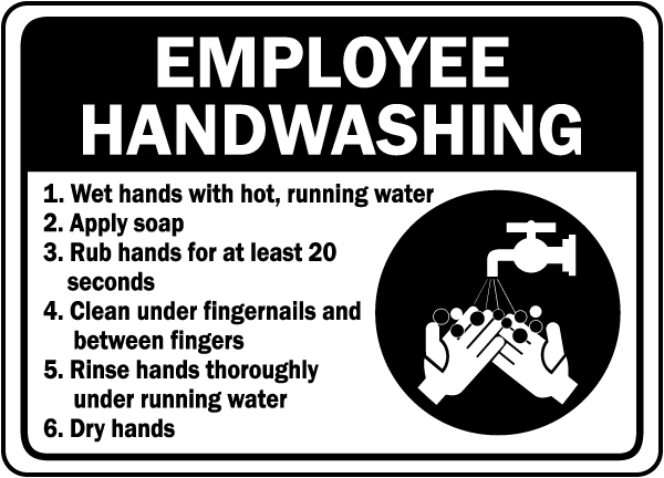 Declarative image with printable hand washing signs for employees