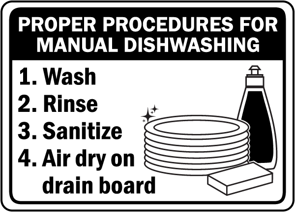Manual Dishwashing Procedures Sign