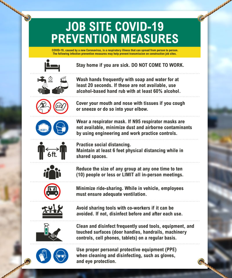 Job Site COVID 19 Prevention Measures Banner D6200 By