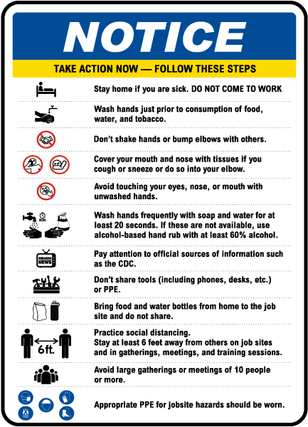 Notice Infection Prevention Construction Sign