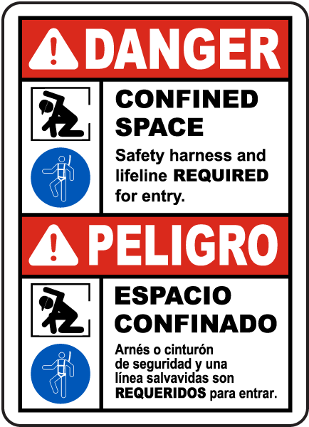 Bilingual Safety Harness and Lifeline Required Label