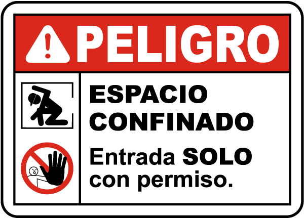 Spanish Danger Confined Space Entry By Permit Only Sign