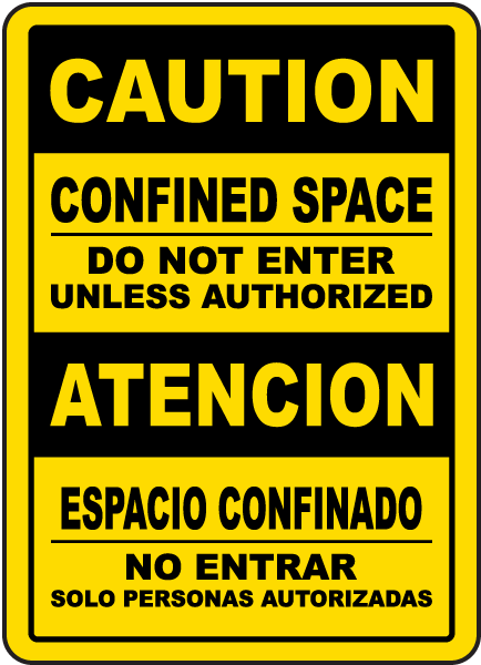 Bilingual Caution Do Not Enter Unless Authorized Sign
