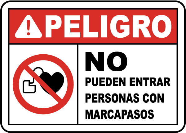 Spanish No Pacemakers Beyond This Point Sign
