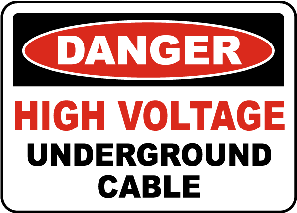 Man On High Voltage Wire : High voltage cable underground label e l