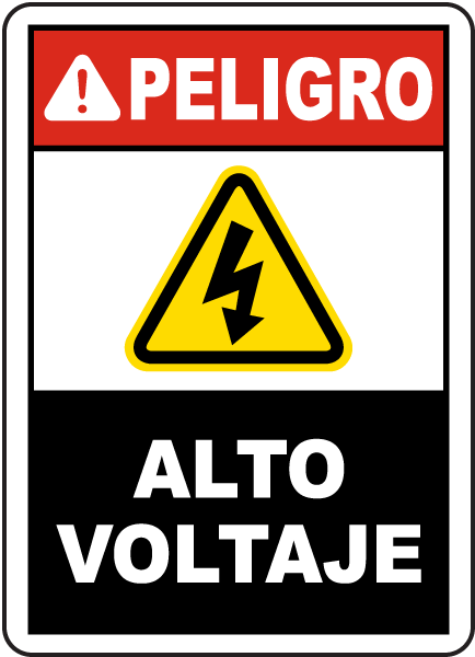 Spanish Danger High Voltage Label