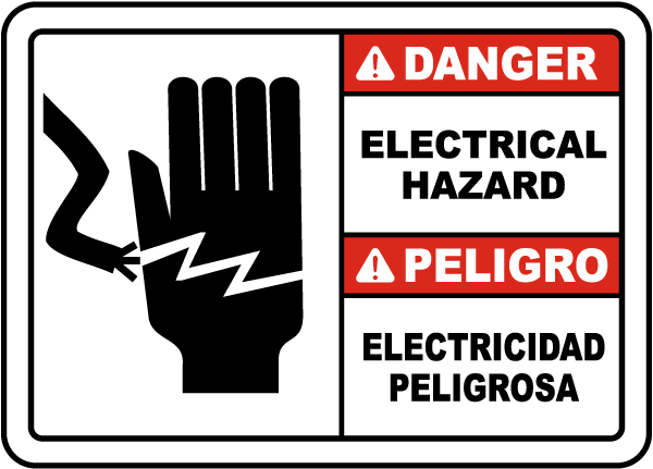 Bilingual Danger Electrical Hazard Sign