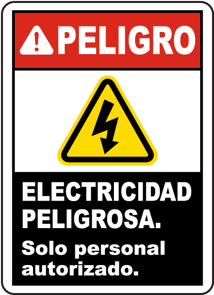 Spanish Electrical Hazard Authorized Personnel Only Sign