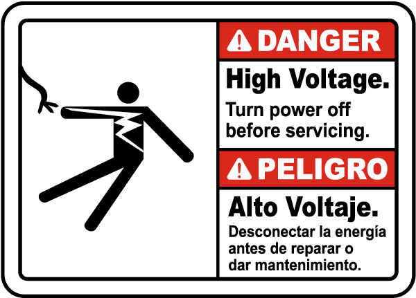 Bilingual Danger High Voltage Turn Off Power Label