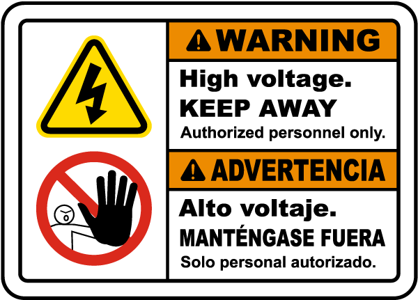 Bilingual Warning High Voltage Keep Away Sign