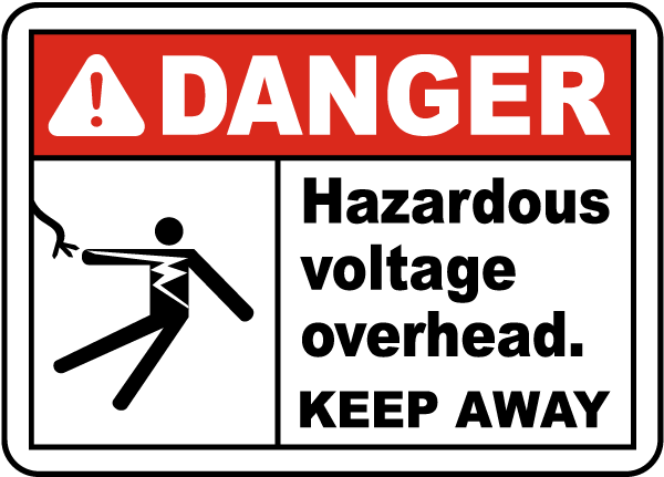 Hazardous Voltage Overhead Label