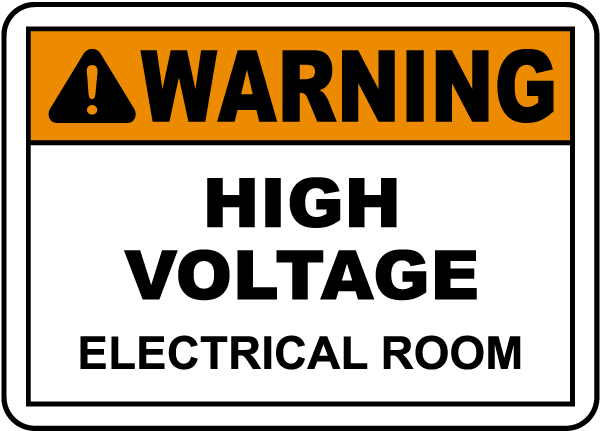 Warning electrical room label e3445l by for Room labels